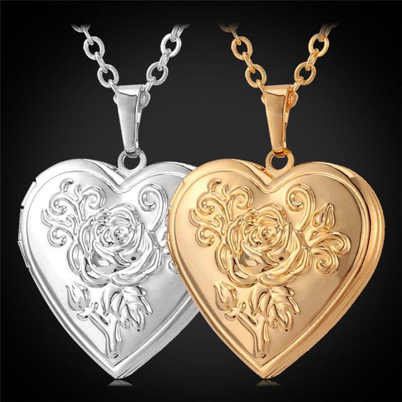 Collar de la medallón de la flor de rosa de la vendimia para las mujeres Girls Fashion Jewelry Regalo 18k oro plateado amor corazón foto medallón colgante