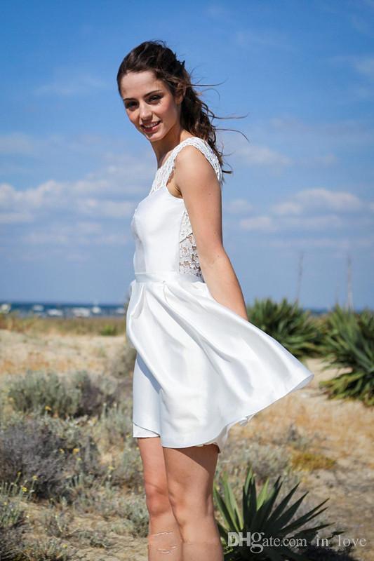 2019 Summer Casual Short Wedding Dresses Backless Sleeveless Jewel Neck Lace Taffeta Bridal Gowns vestido de noiva Custom Size