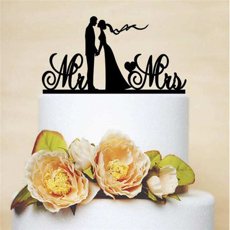 Cake Casamento Decoration Mr Mrs Topper Last Name Wedding Black Personalized Anniversary Stand