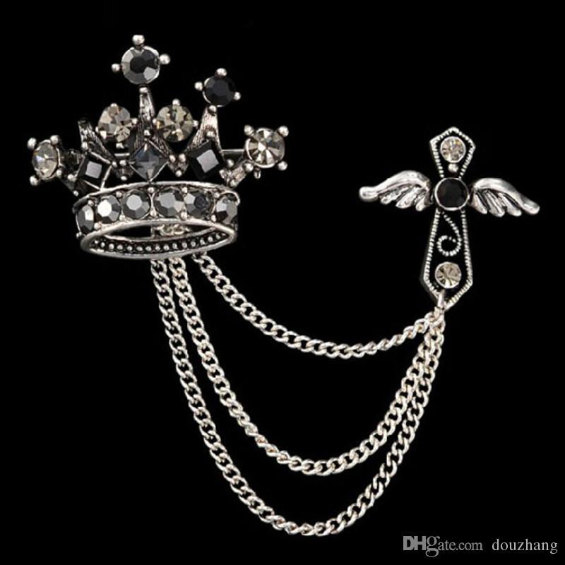 Hommes Broche Alliage Vintage Unisexe Bijoux Crystal Crossal Cross Aile Broche Tassel Pour Femmes Pin Up Broats Broche en gros 12 pcs