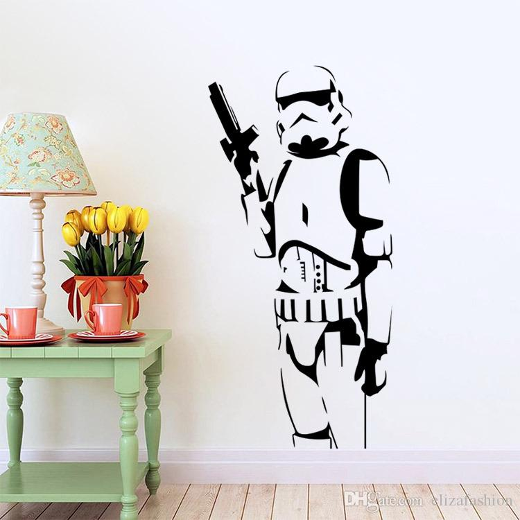 Star Wars Large Wall Decals Silhouette DIY Home Decoration Mural Removable  Bedroom Stickes Hot Wall Decal Decor Wall Decal Decorations From ...
