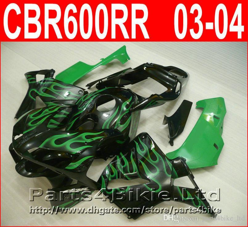 Fitment bodykit style per carene Honda CBR600RR 2003 2006 CBR 600 RR kit carenatura green flame nero CBR 600RR 03 04 GVUS