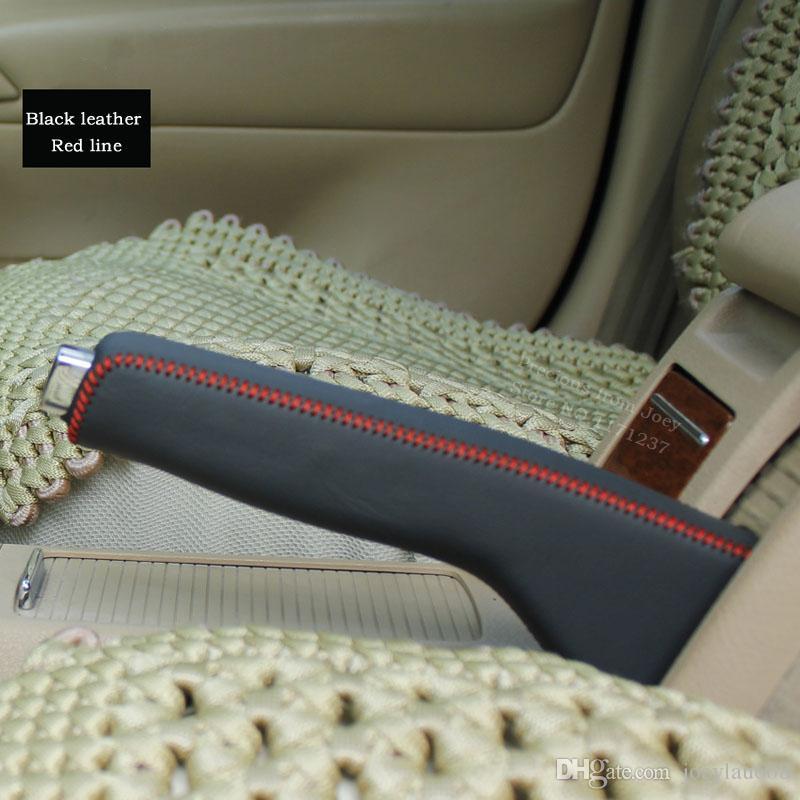 Volkswagen VW passat B5 için el freni kapağı hakiki deri Iç dekorasyon Oto malzemeleri DIY araba styling araba aksesuarları