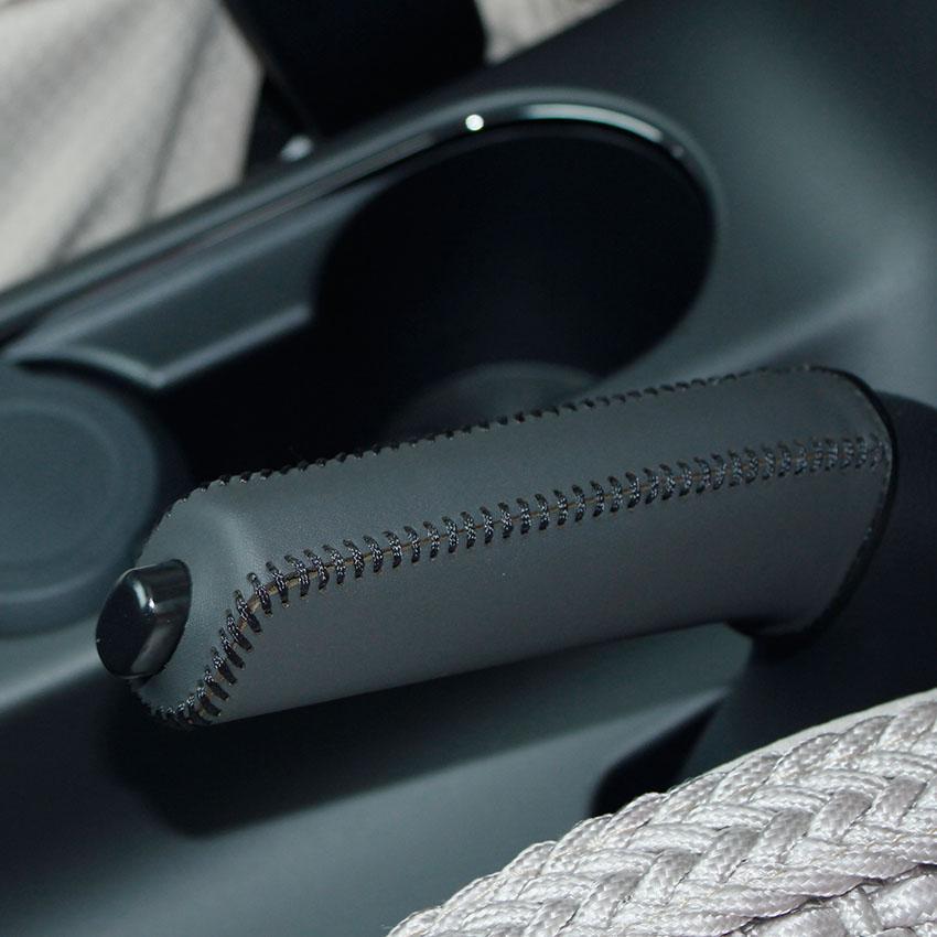 KIA K3 için el freni kapağı Araba styling Hakiki deri İç dekorasyon El freni kapak Araba aksesuarları
