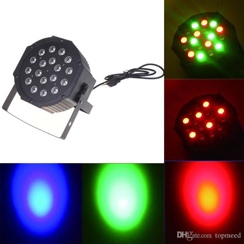 DHL Büyük LED Sahne Işık 18x3 W 54 W 85-265 V Yüksek Güçlü RGB Par Aydınlatma ile DMX 512 Master Slave LED Düz DJ Otomatik Denetleyici