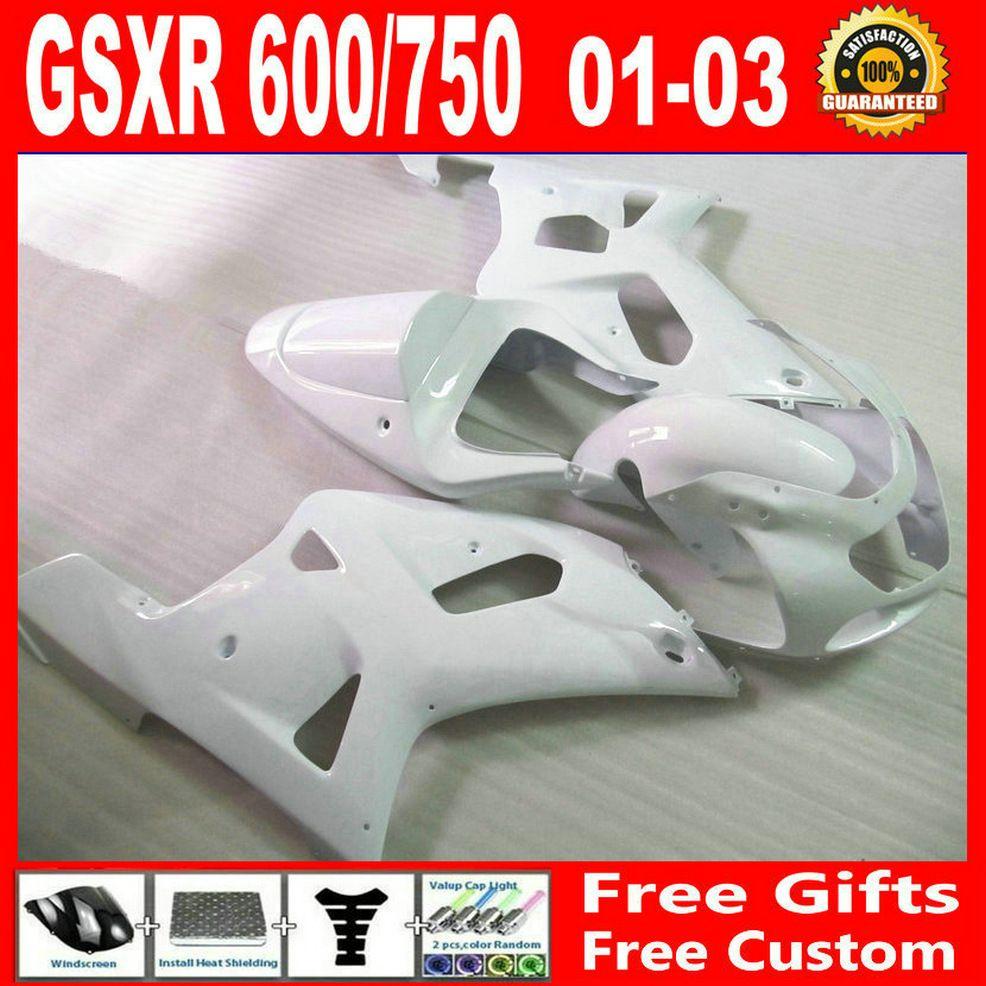 Tutte le carenature fai-da-te di colore bianco per Suzuki GSXR 600 750 00 01 02 03 K1 GSX-R600 R750 2001 2002 2003 kit carene in plastica