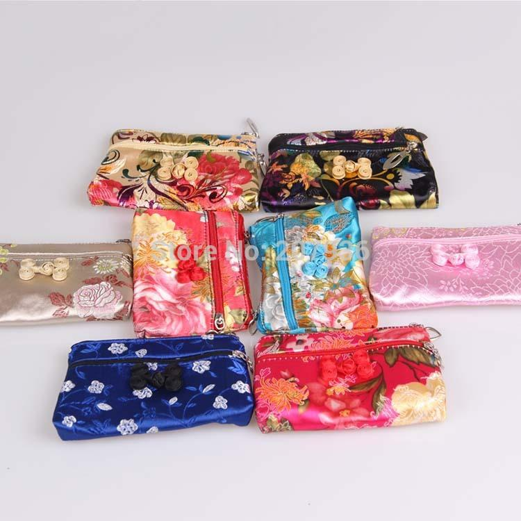 Wholesale Lots Pretty Chinese Handmade Multi-Color Silk Bag//Purse Jewelry Bags