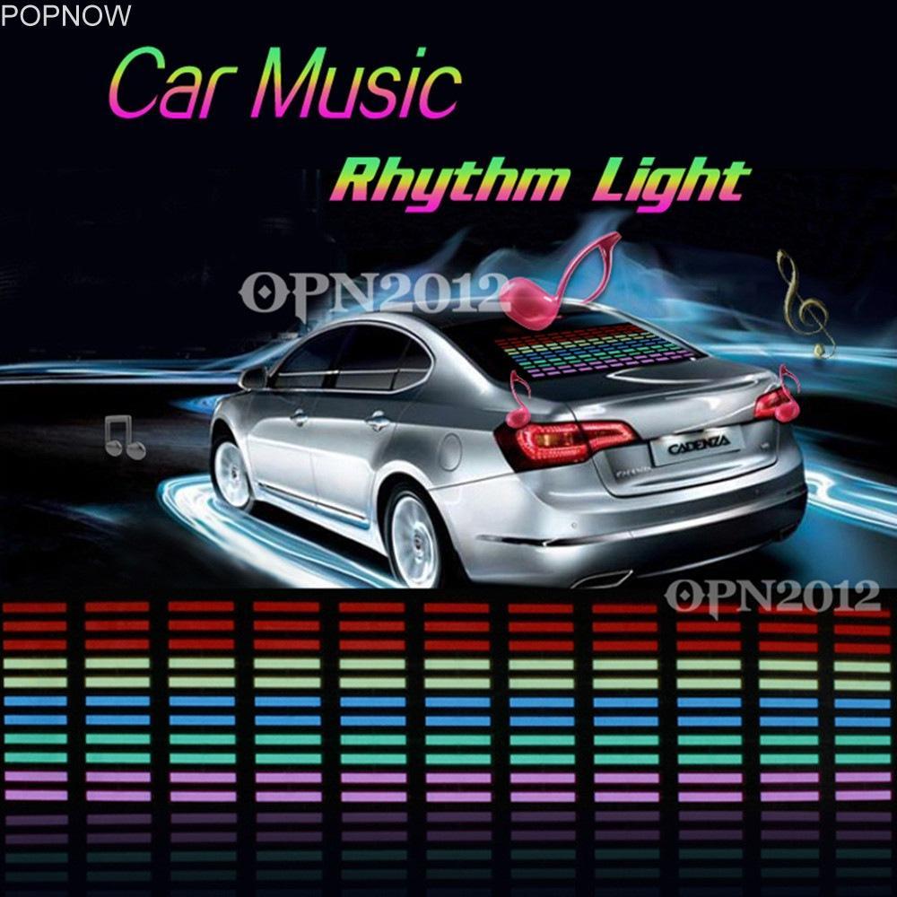 Popnow45x11cm Auto Aufkleber Sound aktiviert Equalizer Musik Rhythmus LED Light Glow Flash Panel Multi Farbe Licht blinkende Lampe 2273