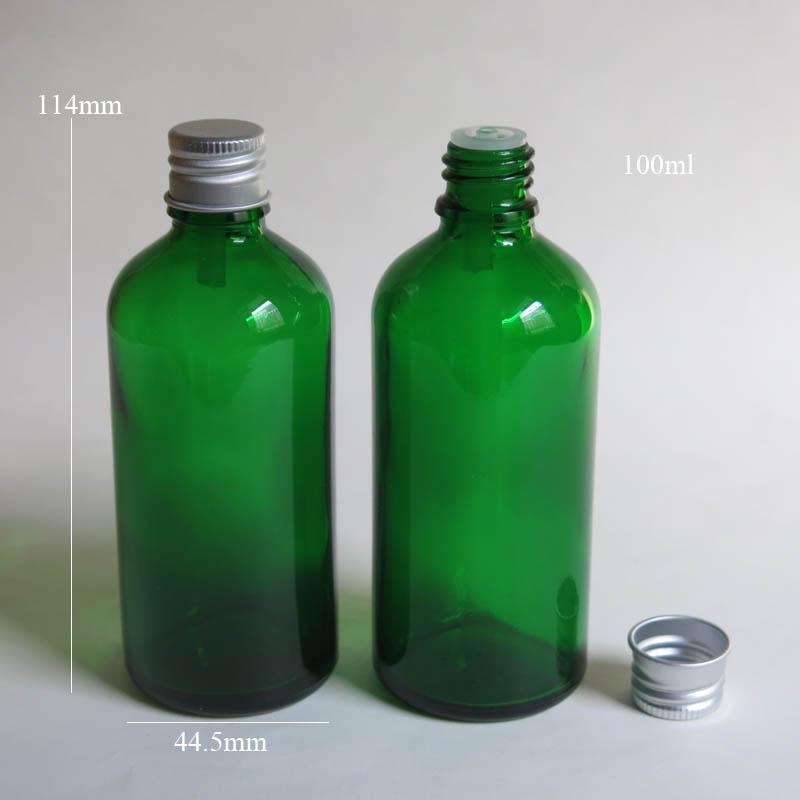 에센셜 오일 도매 알루미늄 캡 / 100ml 녹색 유리 병 10 Pcs / Lot 100ml 유리 에센셜 오일 병 도매