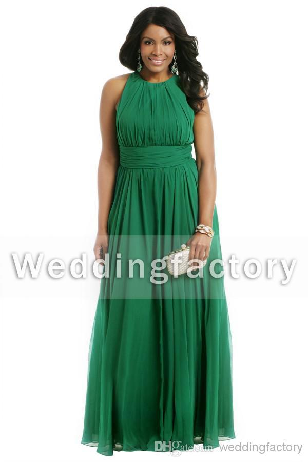 Hot Sale High Quality Emerald Green Plus Size Formal Dresses A Line Crew  Sleeveless Ruched Chiffon Evening Prom Party Gowns Custom Made Plus Size ...