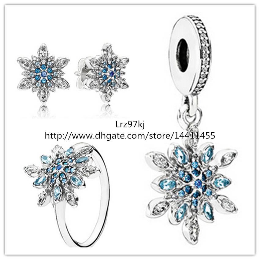 Кольцо Серьги из стерлингового серебра 925 пробы и подвески с подвесками Подходит для европейских ювелирных браслетов Ожерелья-хрустальные снежинки