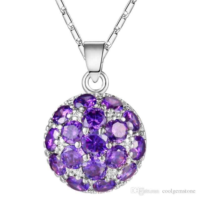 Luckyshine Engagement Jewelry Round Purple Amethyst Gems 925 Silver Necklaces New For Women Cz Pendants Weddings Jewelry