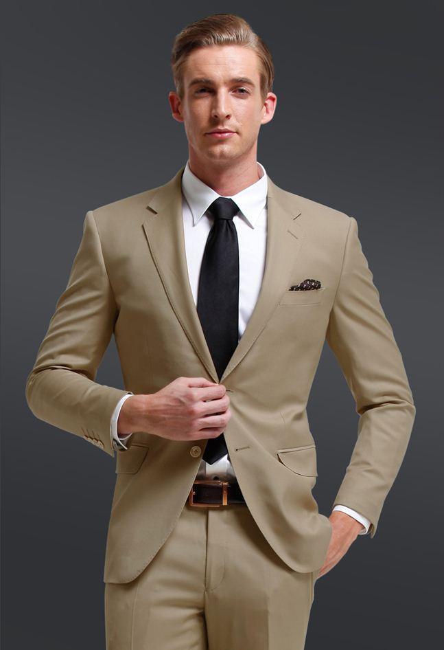 Бесплатная Доставка! Новый хаки джентльмен стиль бизнес две кнопки костюмы (куртка + брюки + галстук) жених смокинги друзья жениха мужские свадебные костюмы