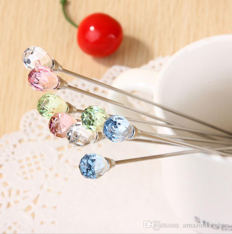 Gota de água em forma de lágrima diamante colher garfo varão mexendo haste de aço inoxidável utensílios de cozinha talheres jantar conjunto de 2 cozinha sala de jantar