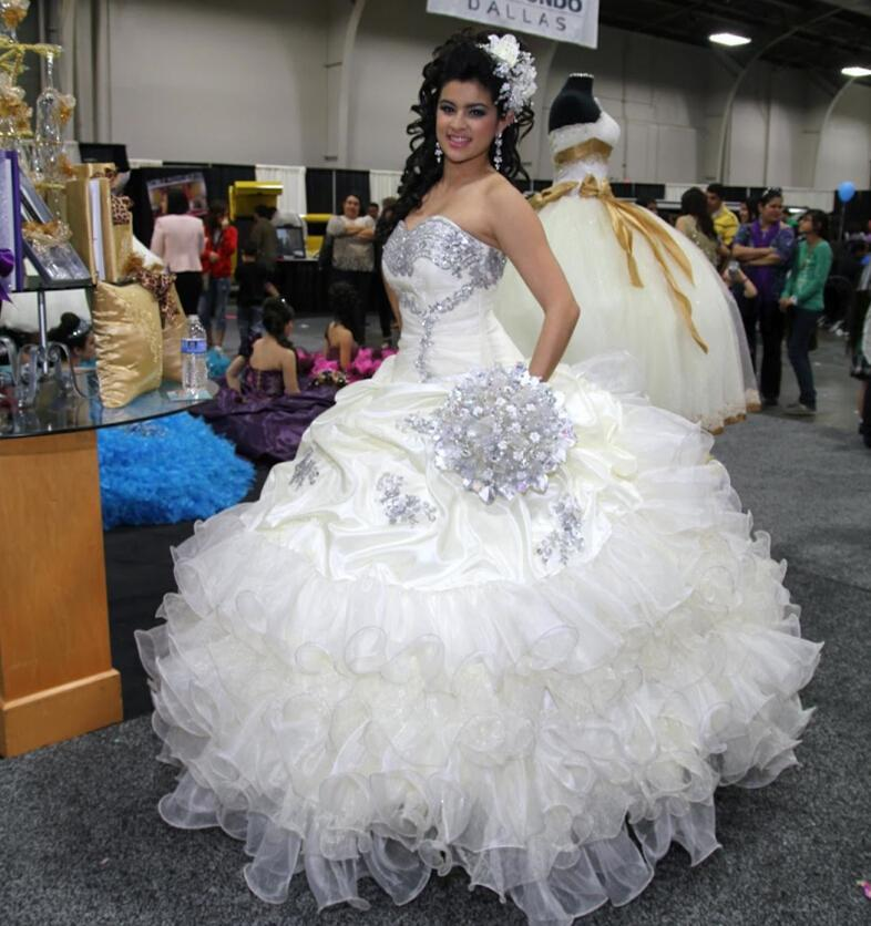 2016 Stunning Beaded White Quinceanera Dresses For Sweet 16 Princess ...
