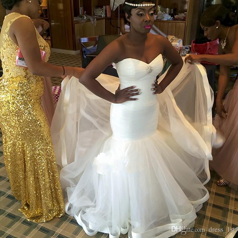 New African Mermaid Brautkleider 2017 Tulle-Schatz-Spitze oben zurück Perlen Lange Brautkleider Plus Size Maß China EN112511