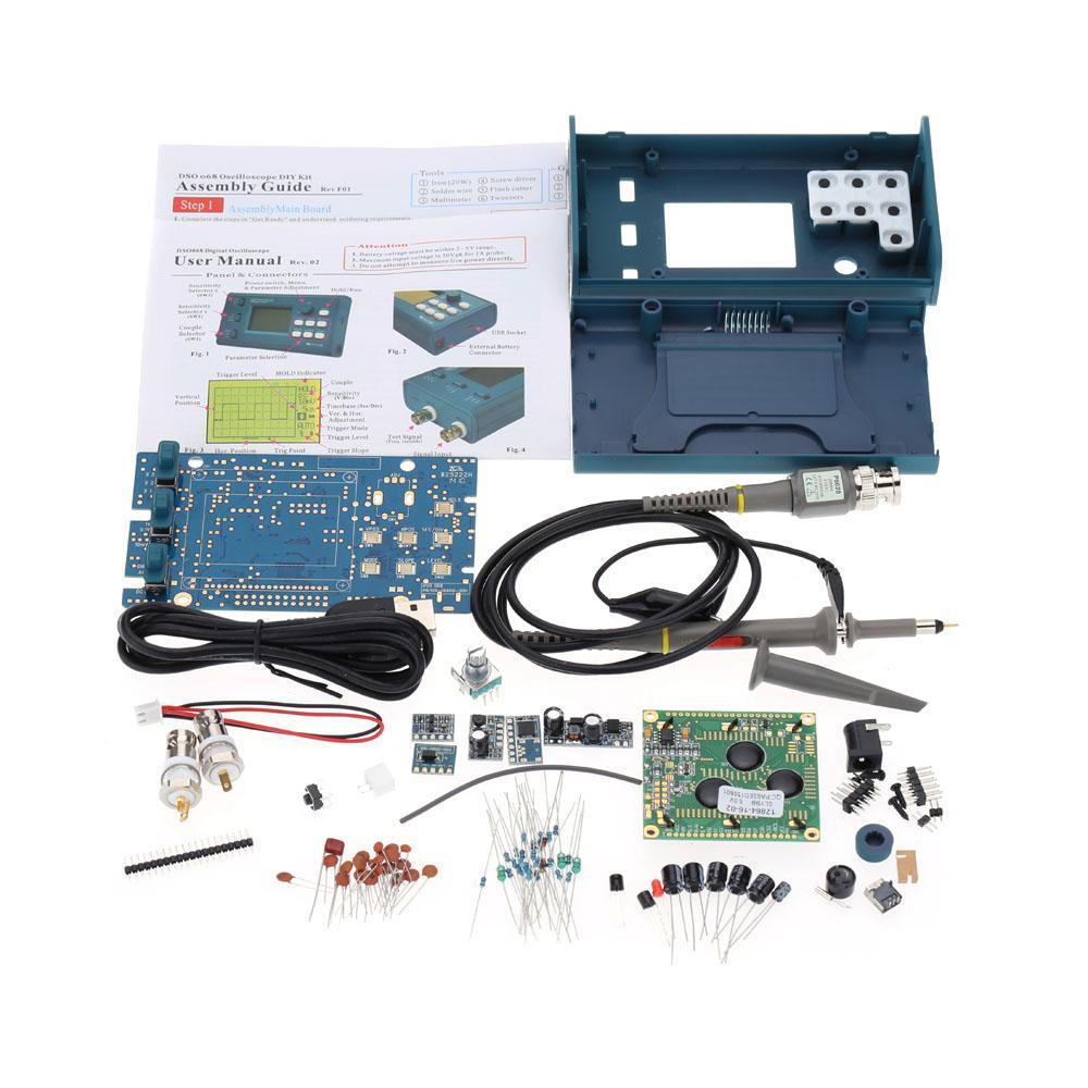 FREESHIPPING LCD تخزين رقمي / التردد متر DIY كيت مع واجهة BNC التحقيق USB DSO 20MSa / ثانية 3MHz Oscilloscopio