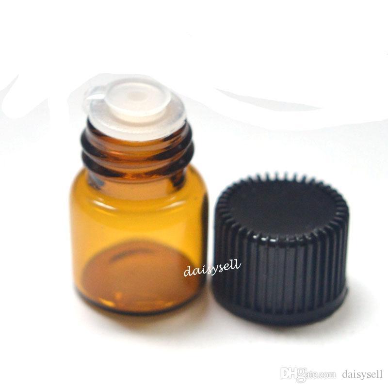 1 ml Petite Bouteille Ambre Clair Vide Bouteille En Verre Pull Orifice Rducer Bouchon À Vis Mini Flacons D'huile Essentielle