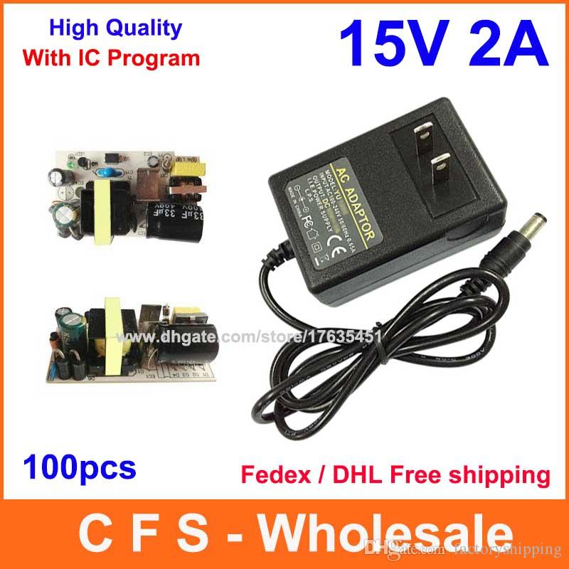 100pcs AC DC 15V 2A 전원 어댑터 공급 30W 어댑터 IC 버전 페덱스 DHL 무료 배송 고품질