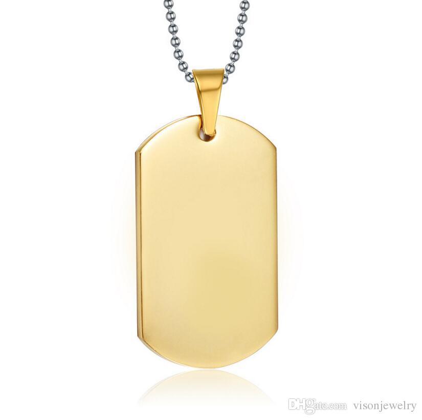 Aço inoxidável Personalizado Dog Tag Colar 18 K Banhado A Ouro Militar Tag de Cão Gravado Personalizado Stamped Blanks Nome Colar