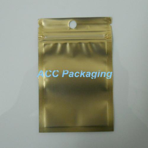 """7.5x12cm(3.0 * 4.7 """")ゴールデン/クリアセルフシールジッパープラスチック小売包装パックバッグジッパーロック包装バッグパッケージ"""