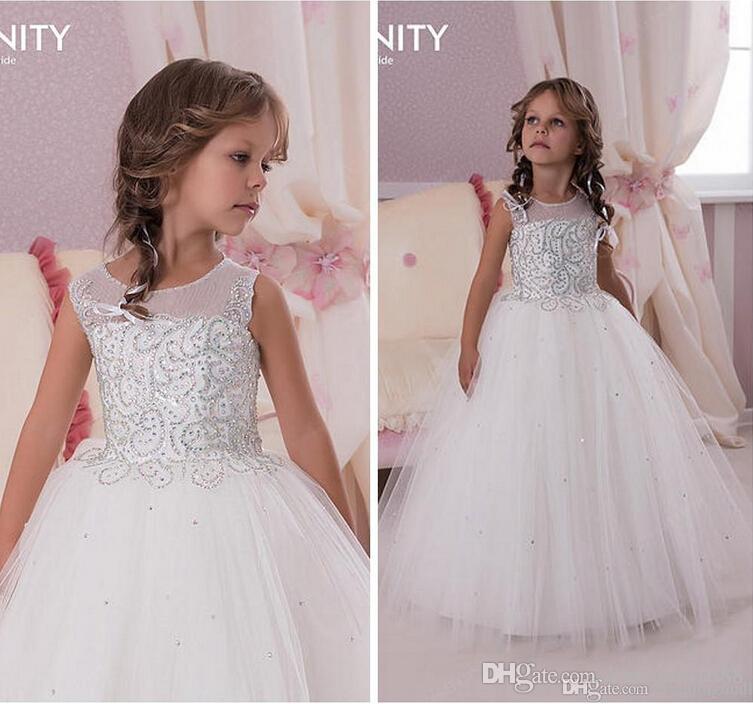 Sheer Neck Beading Ball Gown Tulle Floor Length Baby Girl Birthday Party Christmas Dresses Children Girl Party Dresses Flower Girl Dresses