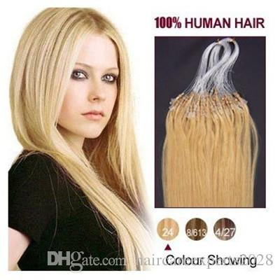"""Wholesale --5A 16""""- 24""""1g/s 100g/pack 24# medium blonde Brazilian Remy Human Loop Hair Micro Ring Hair Extensions dhl free shpping"""