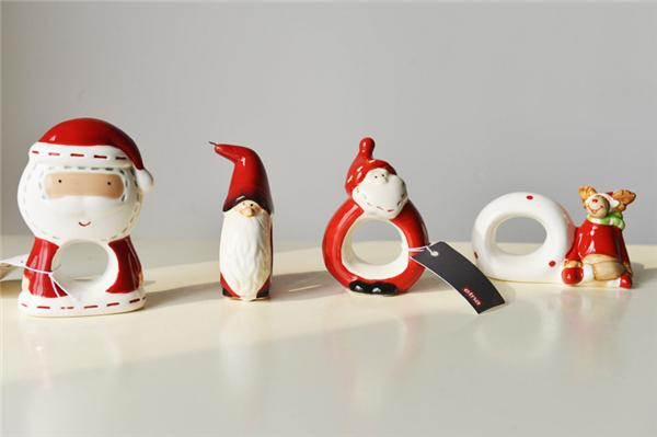 christmas ornaments christmas set of 4 very cute plastic canvas santa christmas napkin ring holders santa napkin ring wall vinyls home decor wall wear - Ceramic Christmas Ornaments