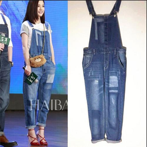 86f050a16c8 Loose Bib Jeans Denim Overalls Women Playsuit 2015 Summer Style Long Rompers  Womens Jumpsuit Elegant Skinny