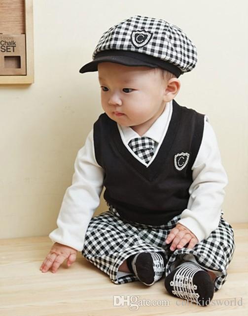 2017 Spring Summer Cotton Long Sleeve Baby Gentleman Suit Baby Set ...