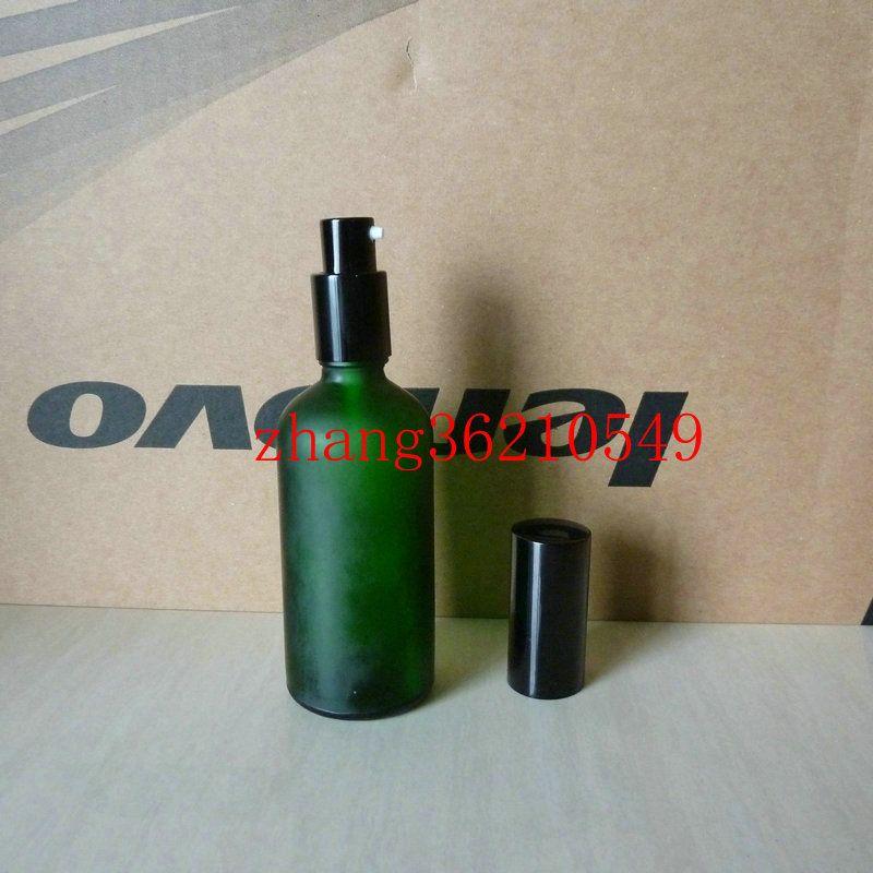 100ml 녹색 서리로 덥은 유리 로션 병 알루미늄 반짝 이는 검은 pump.for 로션과 에센셜 오일. 로션 포장