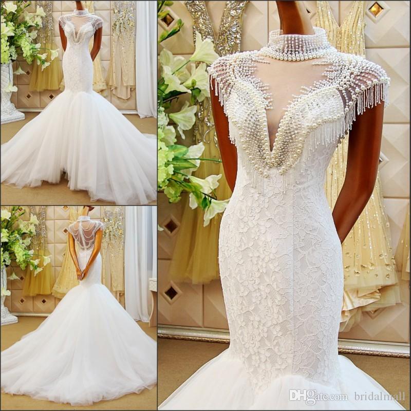 Роскошные жемчужины русалки свадебные платья высокой шеи с бисером кружева романтические свадьбы свадебные платья свадебные поездов обратно увидеть через свадебное платье