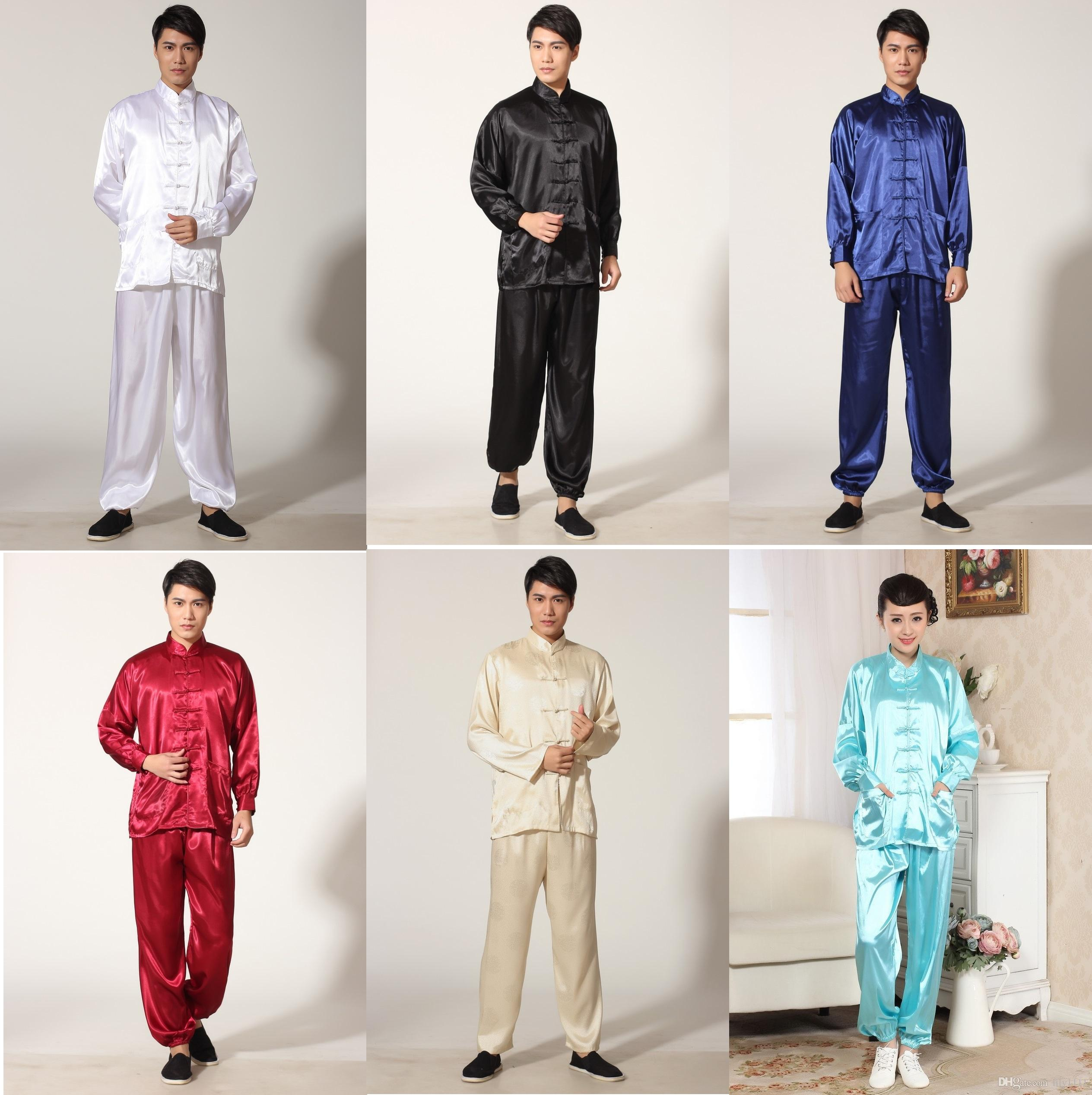 Free Shipping Martial Arts Set Tai chi chinese style top long sleeve tang suit set chinese traditional clothes Kung fu jacket + pants 5color