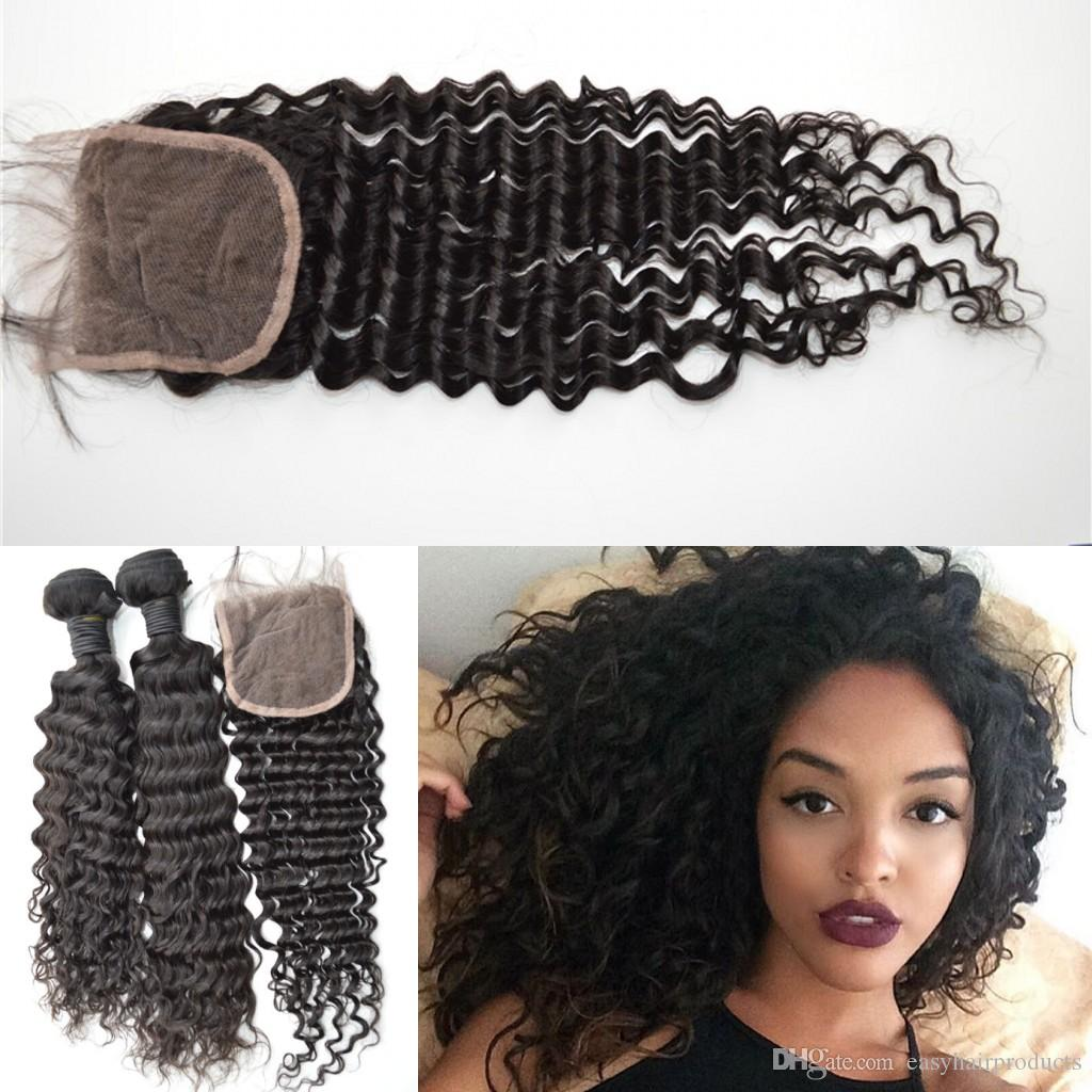 Virgin Brazilian hair with closure 4x4 inch deep Wave Wavy lace closure queen weave G-EASY hair for sale