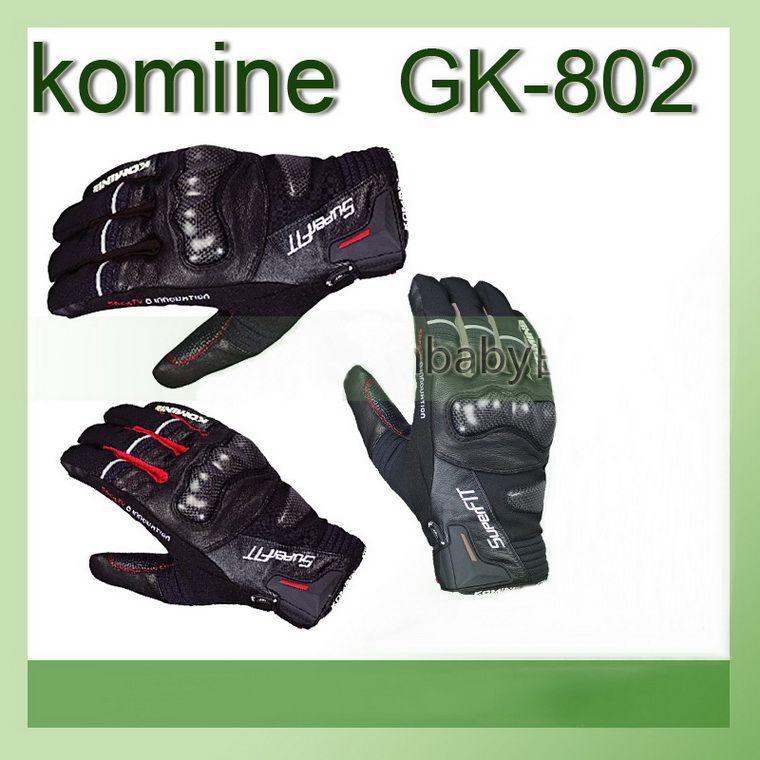 2015 New Komine GK-802 PROTECT W-LUVAS HANNIBAL-Dedo moto / moto luvas Moto correndo luvas de couro de fibra de carbono completo /