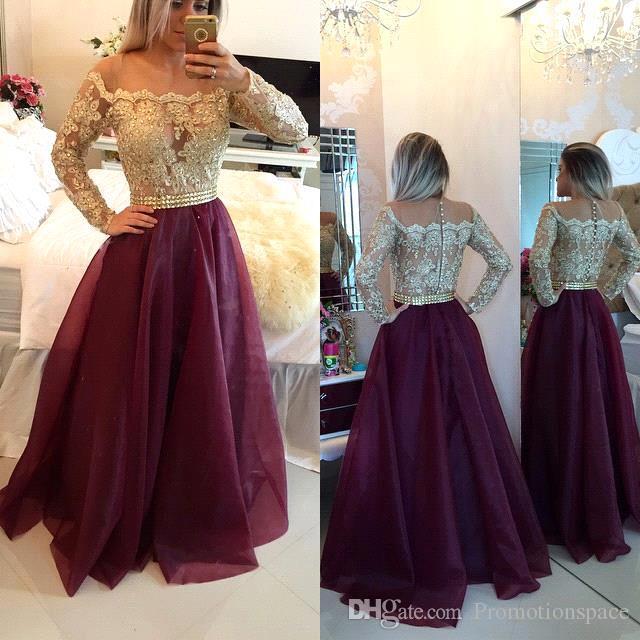 2016 Nouvelle Dentelle Formelle Longue Robes De Soirée Perlée Étage Longueur Sheer Manches Longues Prom Party Robes Sur Mesure