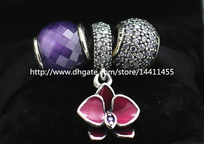 S925 Sterling Silber Charms und Murano Glasperlen Set mit Charm Box passend für Pandora Jewelry Charm Bracelets-Su016