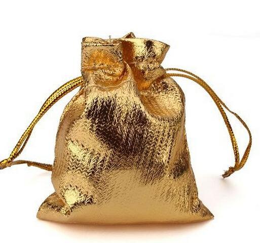 Borse all'ingrosso-50pcs / lot argento o oro placcato sacchetti di regalo satinato con borse con coulisse regalo borse regalo sacchetti7 * 9 cm