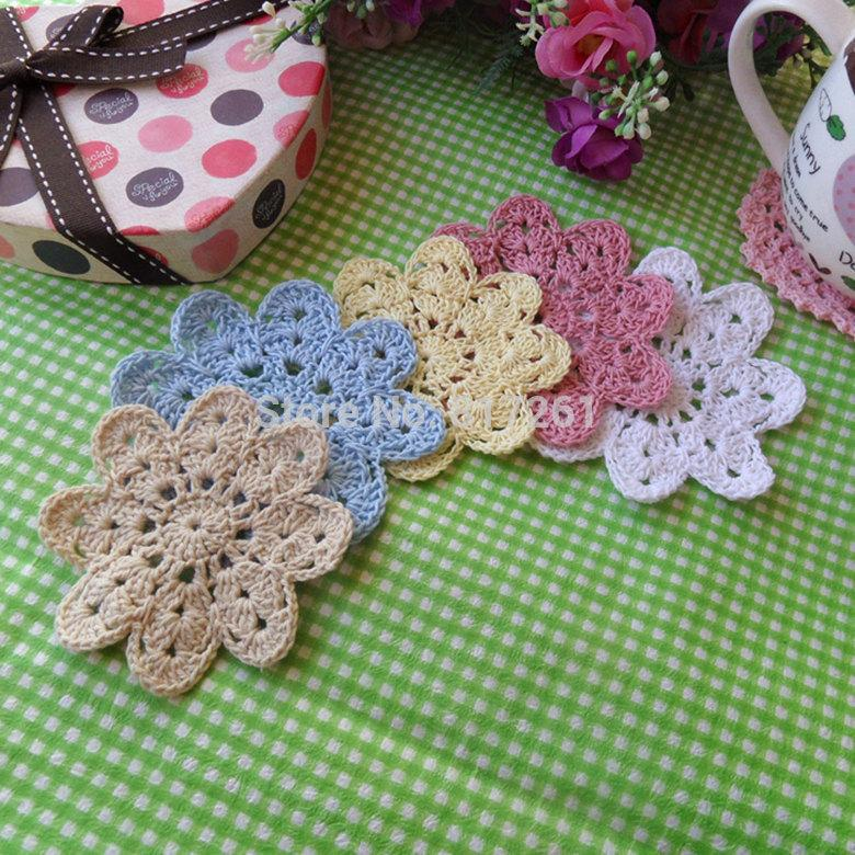 free shipping 2015 fashion 5 colors 50 pics/lot cotton crochet fabric coaster cup pad napkin round felt placemat doilies wedding