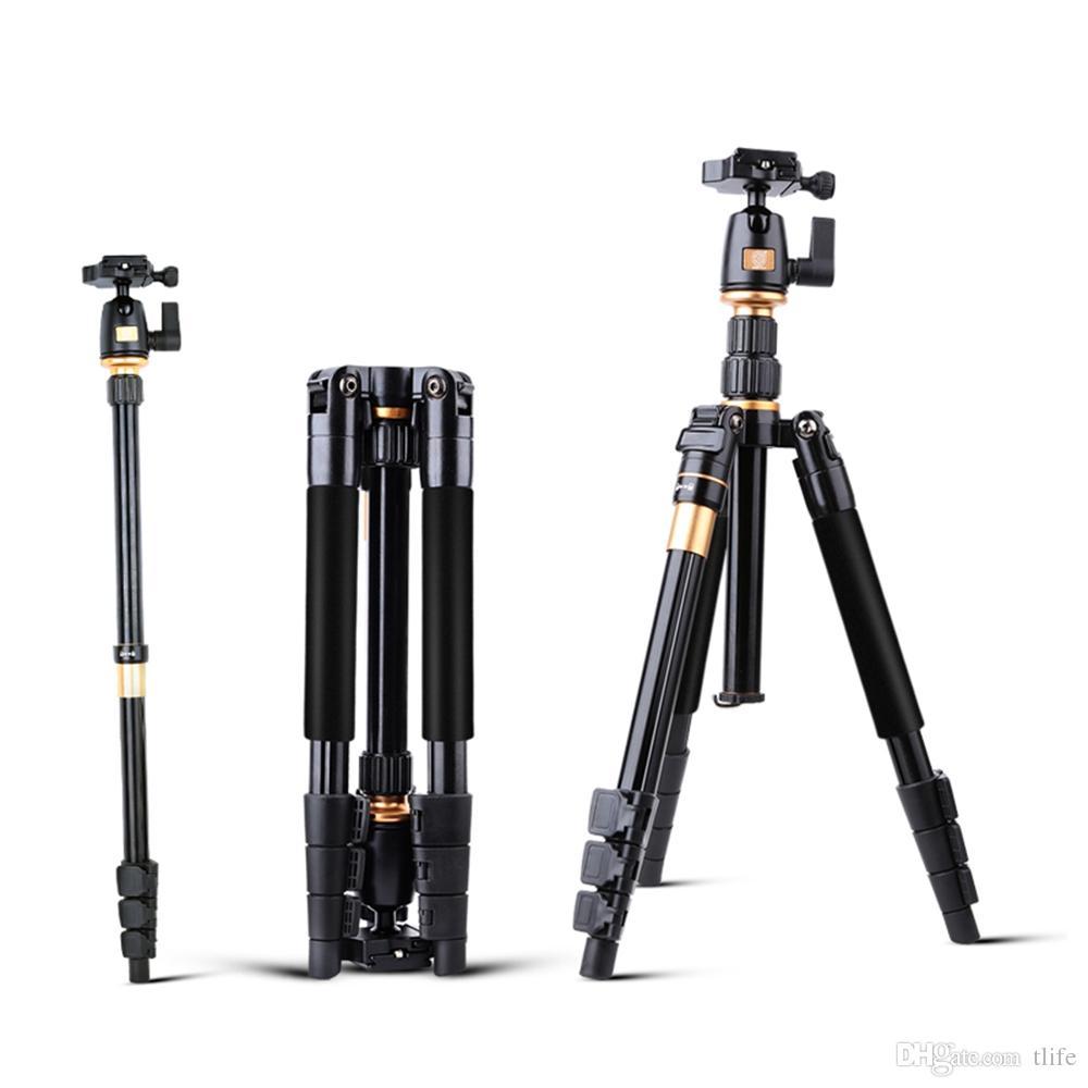 Ursprüngliche QZSD Aluminiumlegierung Professionelle ausziehbare Stativ DSLR Kamera Video Monopod mit Schnellwechselplatte Plattenständer Q555 BA