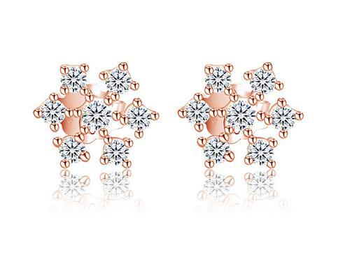 925 Sterling Silver Stud Brincos Moda Jóias Little Snowflake Cristal De Diamante Estilo Elegante Brinco para As Mulheres Meninas de Alta Qualidade