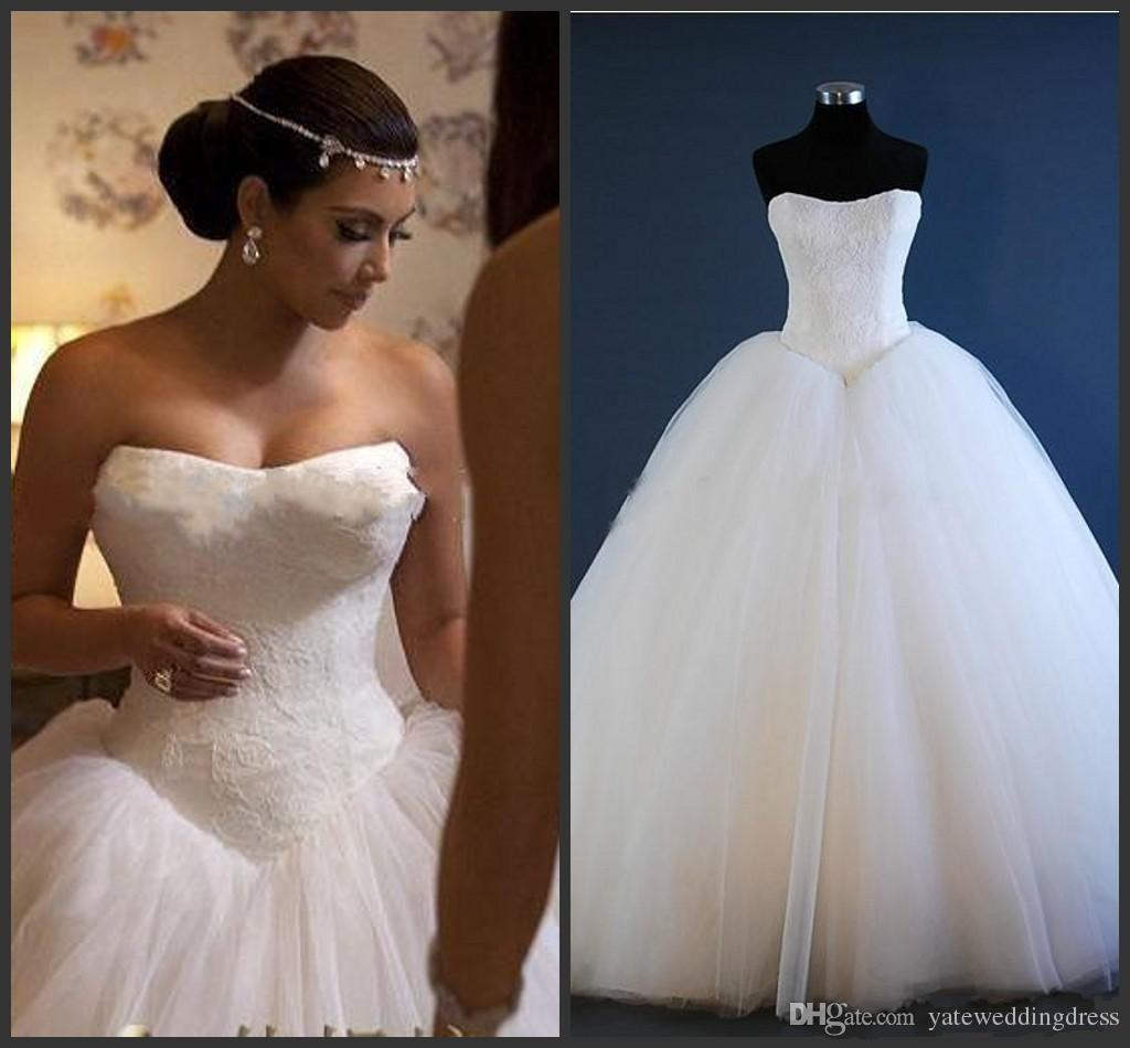 New Corset Kim Kardashian Bridal Gown Actual Images Hot Sale Fashion Strapless A Line Wedding Dresses Bridal Gow Tulle White Lace Canada 2019 From