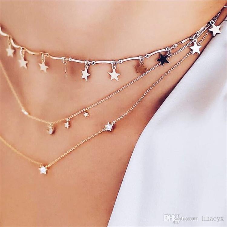 Lwong delicioso color de oro cadena de color diminuto estrella gargantilla collar para mujeres bijou collares colgantes simples boho capas chokers a268