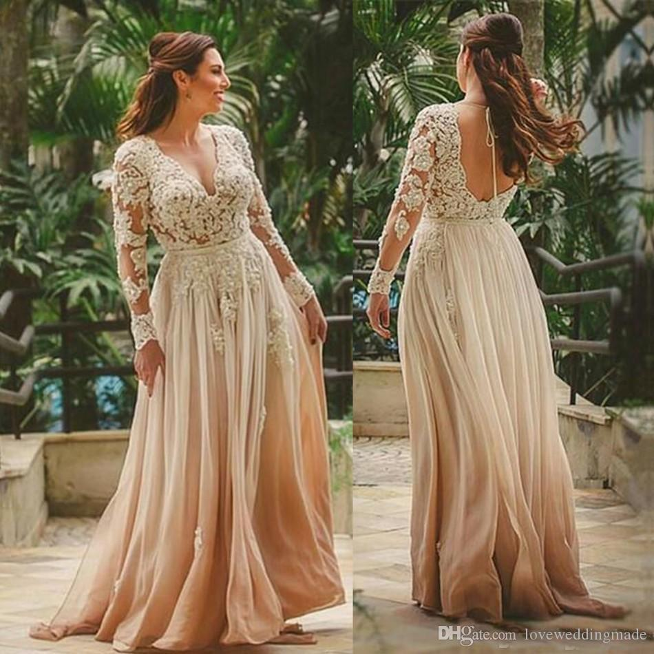 Discount 2018 Gradient Colored A Line Wedding Dresses With Sheer Long  Sleeve Deep V Neck Backless Plus Size Bridal Gown Applique Lace Chiffon  Grecian ...