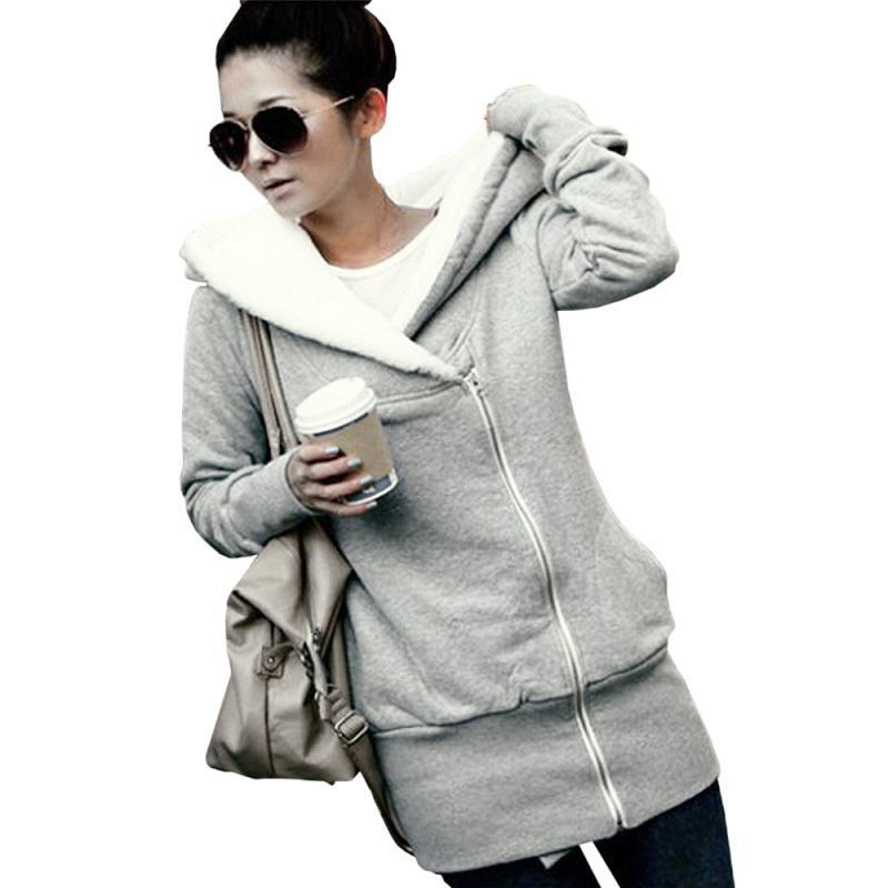 2015 Womens Hoodies Winter Autumn Warm Fleece Cotton Coat Zip Up Outerwear Hooded Sweatshirts Sport Suit Casual Long Coat Jacket FG1511