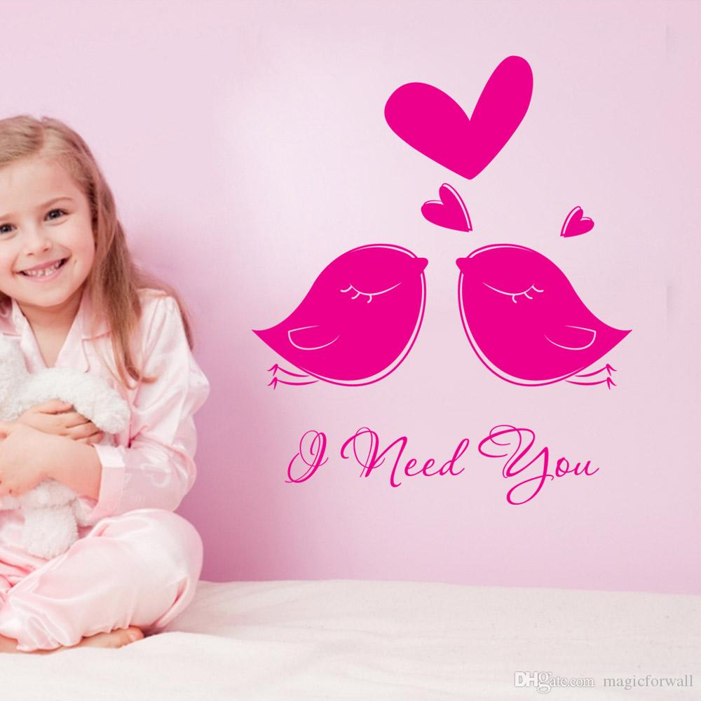 I need you wall stickers decoration two lovely birds wall hanging graphics