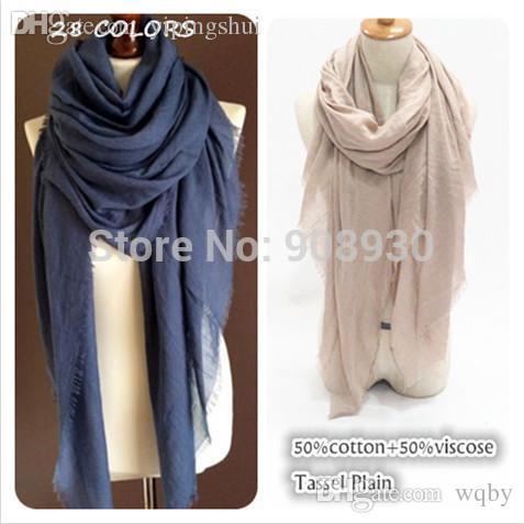 Venta al por mayor-Nueva bufanda 50% algodón viscosa flecos Maxi hijabs liso Mujeres sólido chal Moda sarong señoras musulmanas envolver la cabeza bufandas suaves TR