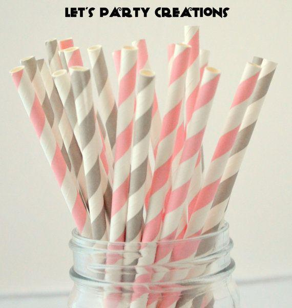 Pack of 200pcs Pink and gray stripes Party Wedding...