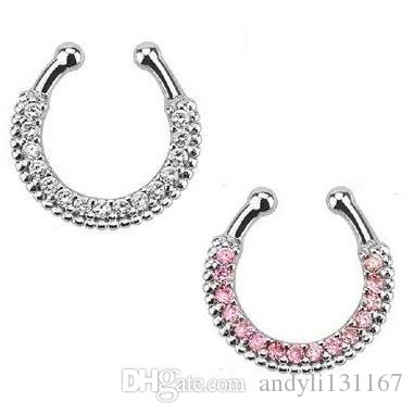 10pcs Crystal Nose Ring Piercing Hanger Clip On Body Jewelry Nose Hoop fake faux septum ring for septum jewelry Free shipping N0016