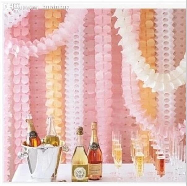 Décoration de mariage Princesse Rose Thème Papier Garland Puff Tissu Jardin Fête D'anniversaire Fournisseurs Toile de Fond Suspendu Décor
